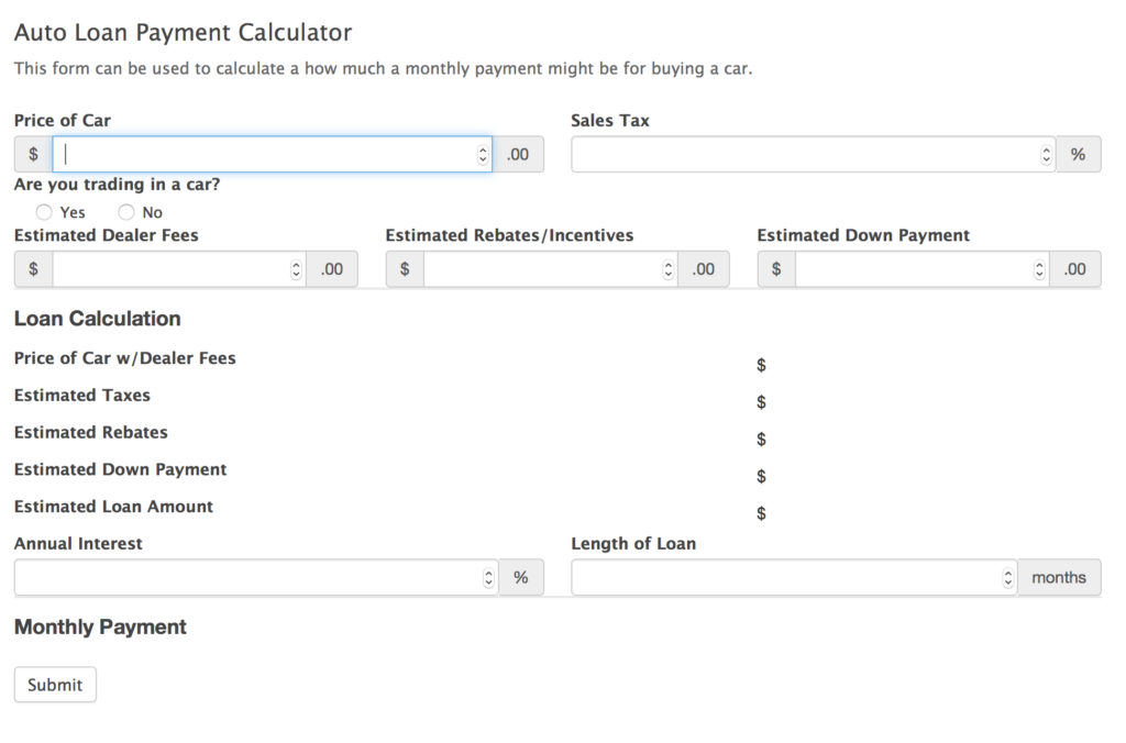 Car Payment Calculator Form Template Screenshots