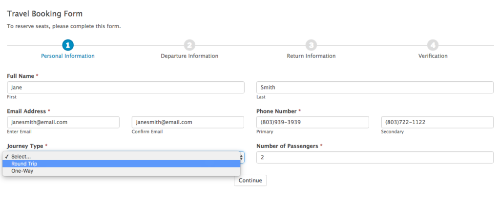 travel booking form template formidable forms