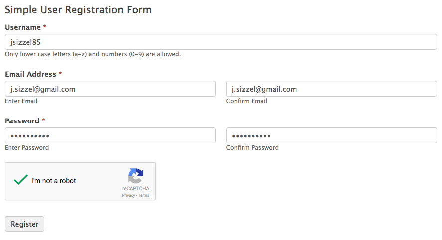 simple user registration form template formidable forms