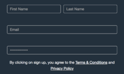 Sign up form example