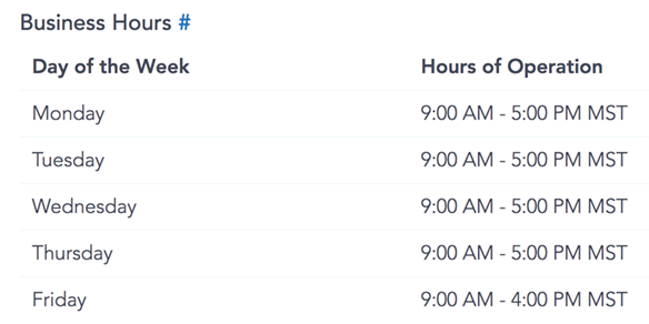 Show business hours from template