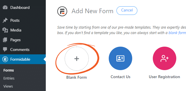 Create blank WordPress form