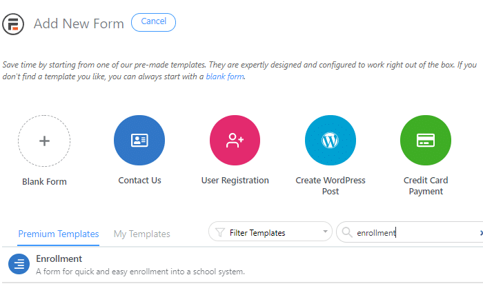 add enrollment form template
