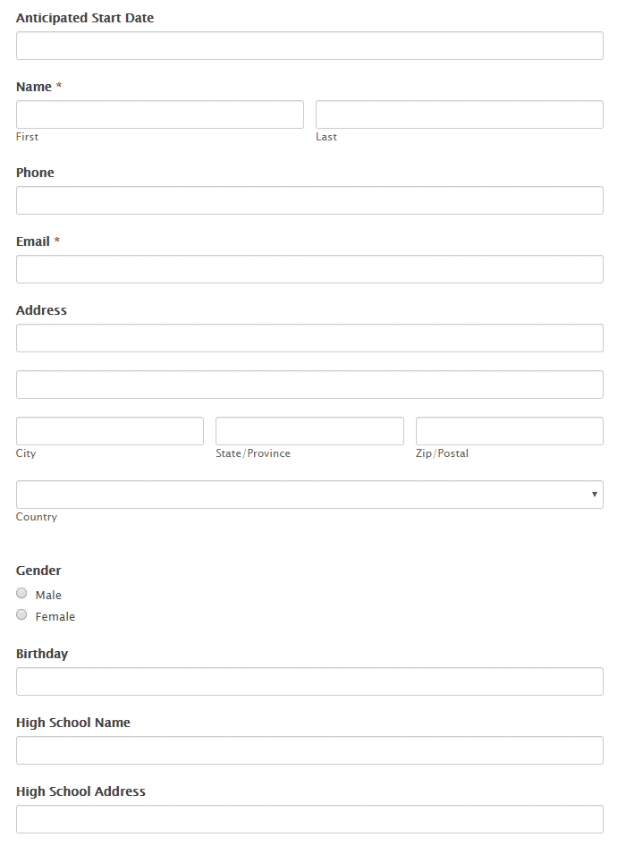 college online application form demo