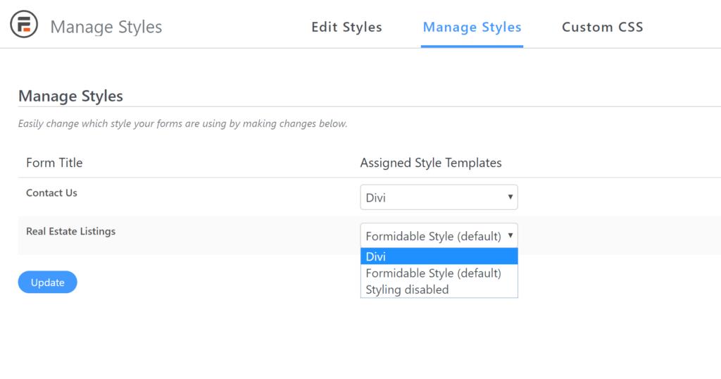 Set style per WordPress form