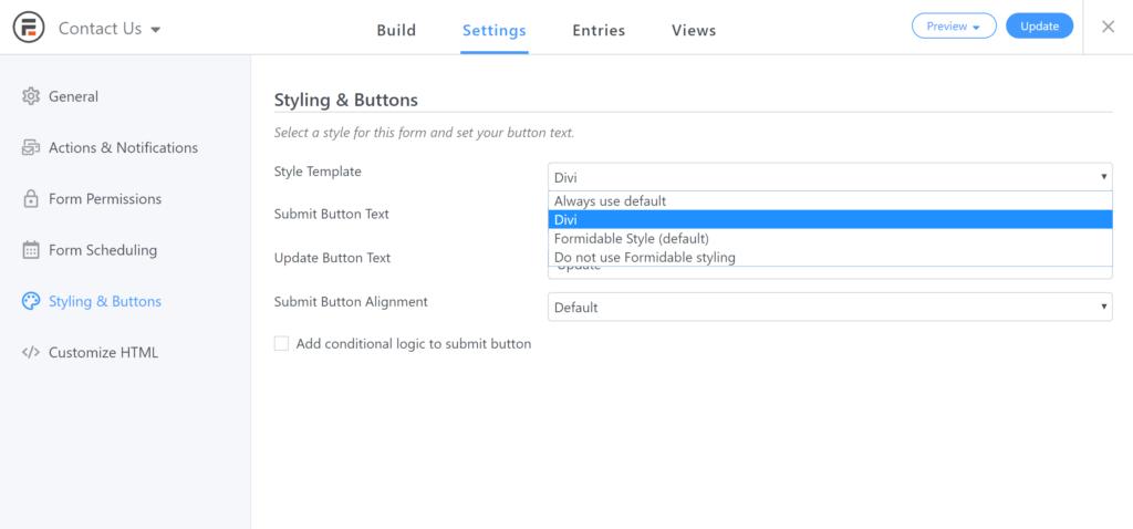 Set style on single WordPress form
