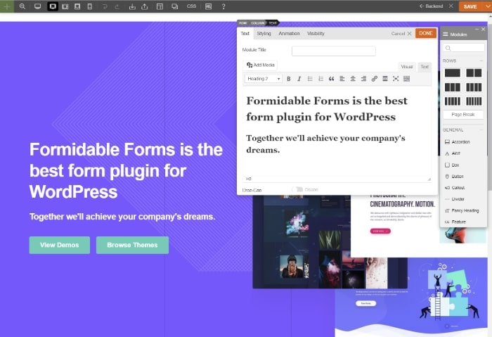 Using the Themify Builder WordPress theme