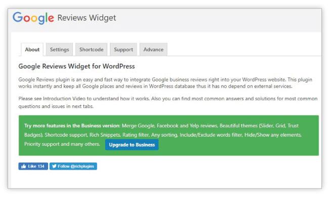 Google Reviews Widget Inferface