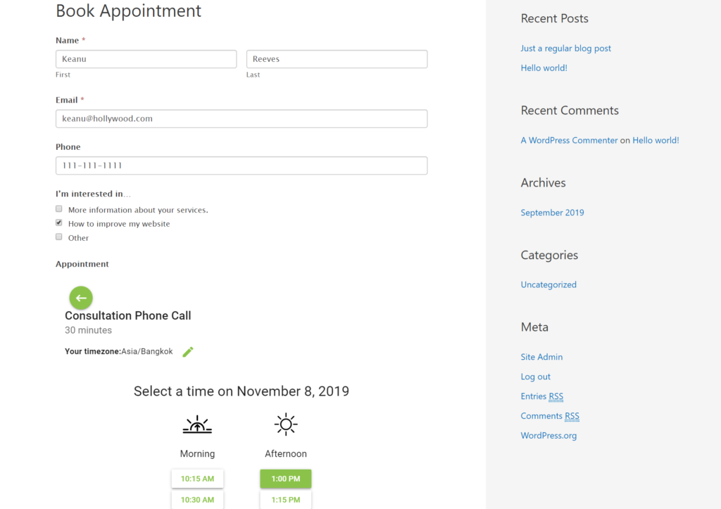 WordPress appointment booking in WordPress form
