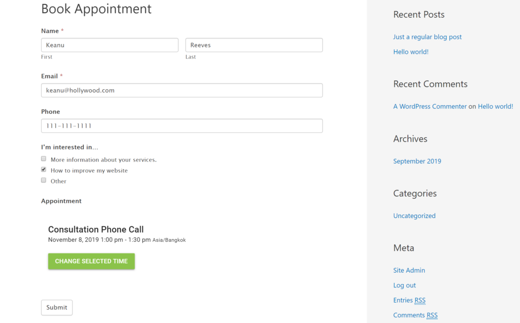 Choose appointment type to book WordPress form