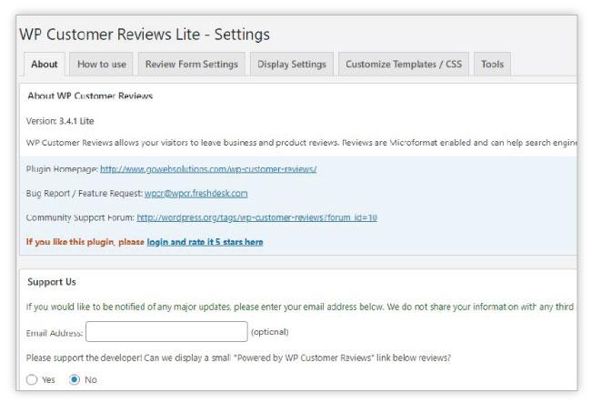 WP Product Reviews Plugin Interface