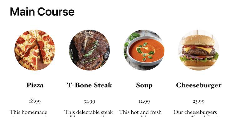 WordPress Restaurant Menu Template